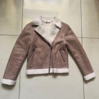 H&M brown faux suede jacket