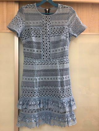 Lace Ruffled Dress in Light Blue