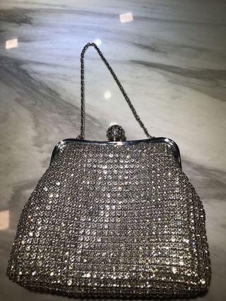 Silver Crystal Diamanté Effect Evening Bag/ 👛