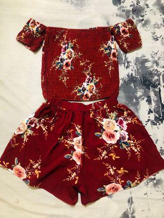 Maroon Floral Coords