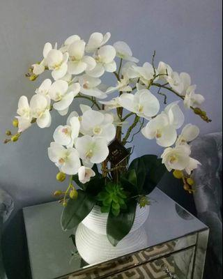Artificial orchid with ceramic vase