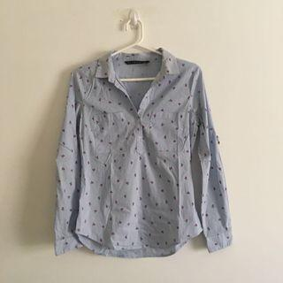 Light and Dainty Blue and White Stripped Floral Long Sleeve