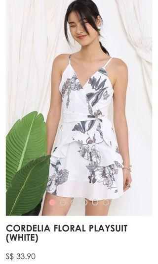 Floral Ruffle Romper Playsuit Dress