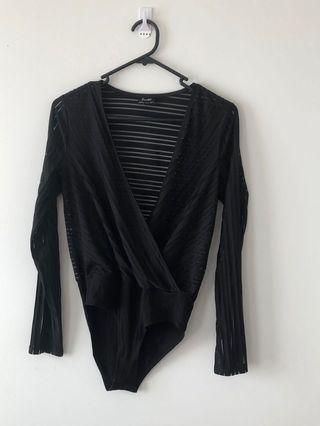 Black Bardot stripe leotard