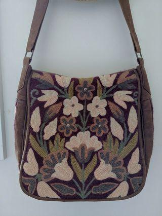 Embroidered Suede Bag