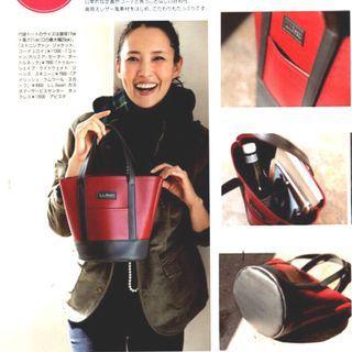 🚚 【全新新品嘗鮮價】日本 雜誌附錄 pu皮 底部圓桶 拼接 拼色 手提包 提袋 手拎包 圓桶包 已到貨中!~