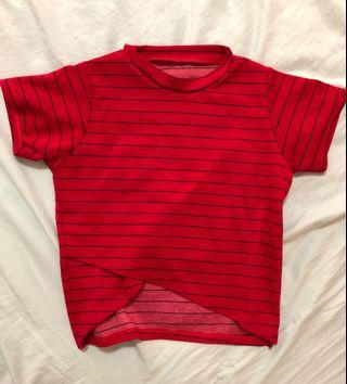 [ FLASH SALE ] red striped crop top