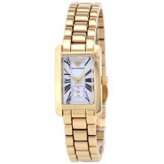 🚚 Emporio Armani AR0175 Women's Watch Gold-Tones White Pearl Dial Stainless Steel