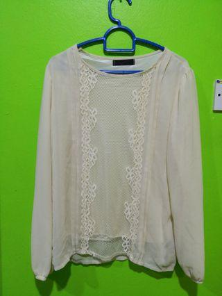 Cream Lace Blouse Size M