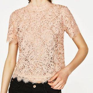 🚚 Zara Laced Baby Pink Top