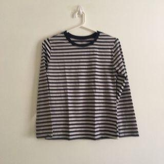 White and Navy Blue Stripped Long Sleeve