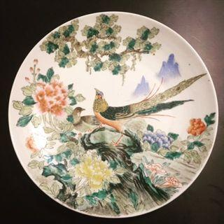 Large Famille Rose porcelain plate - China - second half 20th Century. 八十年代粉彩花鸟大盘