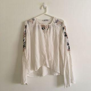 Long Sleeve White Shirt with Light Embroidery