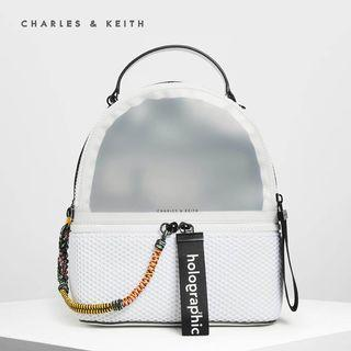 SAG4297 White Jelly Charles & Keith Mesh Detail Backpack