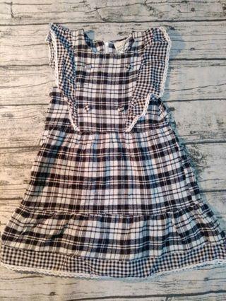 🚚 黑白格紋洋裝/15號(約130公分左右孩子)