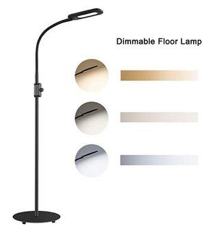 (E1987) [Upgraded] AUKEY LED Floor Lamp, 3 Color Temperatures & 20 Dimmable Brightness Levels, Eye Care Floor Light with Flexible Gooseneck, Standing Reading Lamp for Living Room, Bedroom, Office and Dorm(8W)
