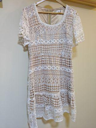 Neonmello white crotchet dress