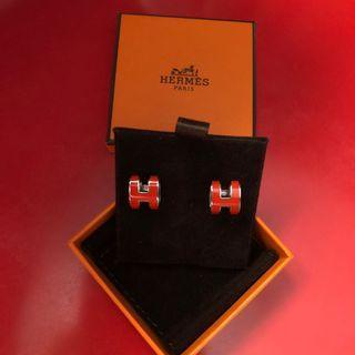 🚚 Hermes Orange Fonce Pop Earrings