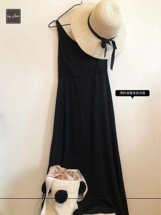 (Sunday)黑色美背細肩帶長洋裝