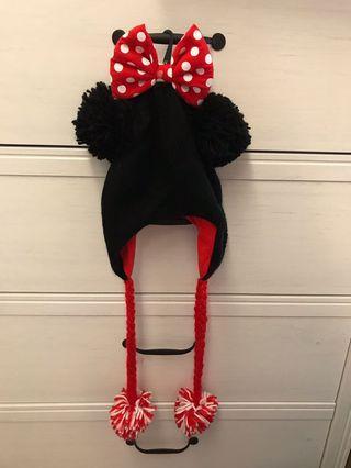 全新 香港迪士尼樂園米妮蝴蝶結針織保暖毛帽