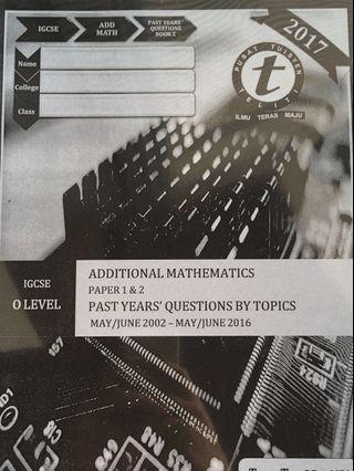 IGCSE/O Level Additional Mathematics Paper 1 & 2 Topical Past Year Question's