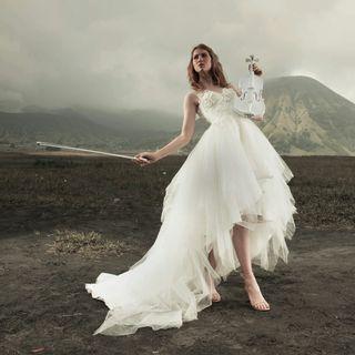 White Asymmetrical Wedding & Evening Gown Rental