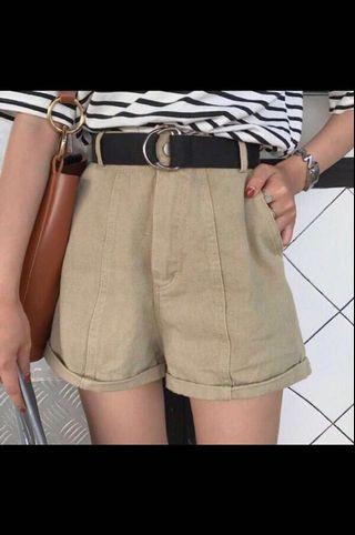 BNWT khaki rolled up highwaist shorts
