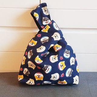小狗 柴犬圖案  日式小手袋 束口布袋 飯盒餐袋 小手袋 放便袋 手挽袋 收納袋 (包郵) 主圖款 寶藍色