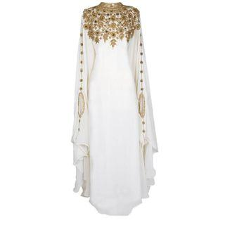 🚚 White georgette embroidery kaftan
