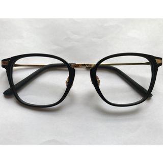 復古中金磨沙黑色方形眼鏡(A70)