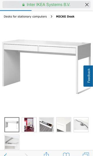 IKEA micke white desk with 2 drawers