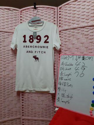 Abercrombie & Fitch 刺繡T恤 尺碼 size M 可参考白板