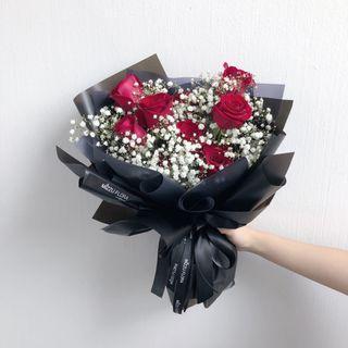 520 Rose  Flower Bouquet | Birthday flower | Fresh flower bouquet | roses | Anniversary Gift | Graduation Flower | Surprise Gift | Red roses | flower delivery | baby breath flower | 鲜花运送 |玫瑰满天星花束|生日花束
