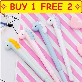 🚚 ⭐Buy 1 free 2 ⭐ Design 3 Thick Macaroon Unicorn Pen goodie bag present gift children stationery