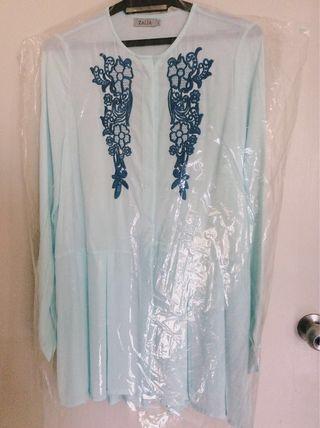 Zalia Embroidery Waist Peplum Blouse #carouraya