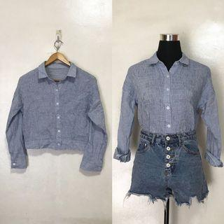 Light Blue Smocked Semi Crop Button Down Long Sleeves Polo