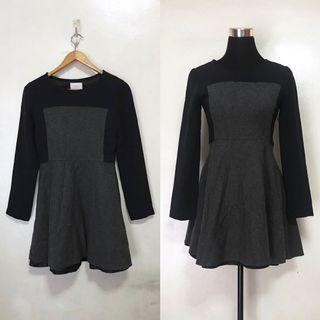 Gray Black Monochrome Party Semi Formal Cocktail Dress