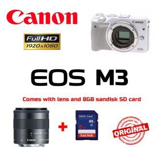 Canon EOS M3 Mirrorless Camera (White) with EF-M 18-55mm f/3.5-5.6 IS STM (Original Canon Malaysia)