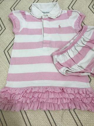 Ralph Lauren 9M Baby girl pink stripes polo dress