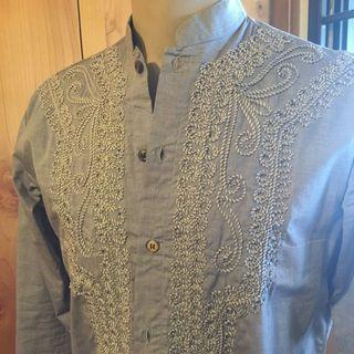🚚 Salt & Pepper Mandarin Collar Embroidered Men Shirt Sz M