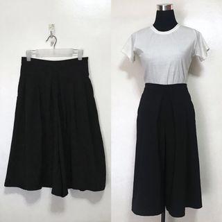Black High Waist Square Pants Culottes Trousers