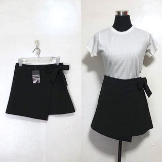 ZARYL Brand New Black Overlap Wrap Side Tie Skirt