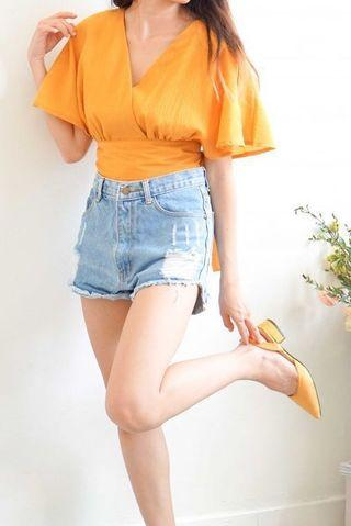 🆓In-Between Days Flare Sleeves Top in Mustard Yellow