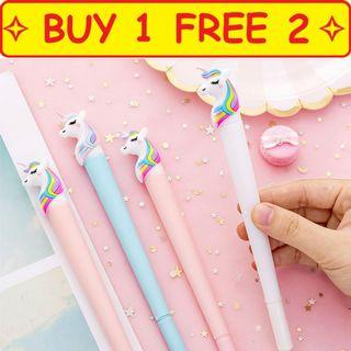 🚚 ⭐Buy 1 free 2 ⭐ Design 5 Thick Long Hair Unicorn Pen goodie bag present gift children stationery