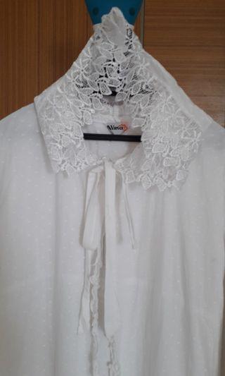 Jubah cotton putih dengan hood
