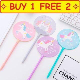 🚚 ⭐Buy 1 free 2 ⭐ Design 6 Fan Unicorn Pen goodie bag present gift children stationery