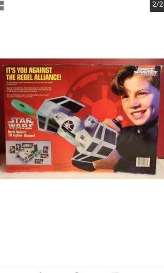 Vintage MB 1986 Starwars Darth Vader Tie Fighter Vinyl Space Shooter