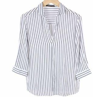 🆓Bershka White and Dark Blue Striped Shirt