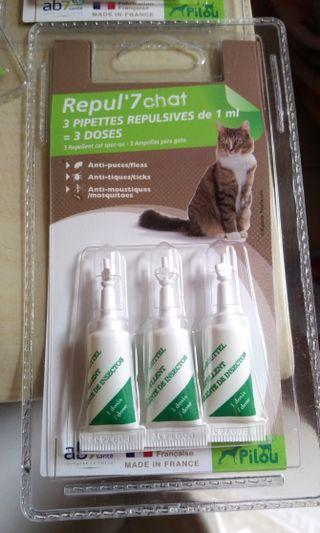 🚚 法國pilou貓用天然防蚤蝨滴劑 1ml*3