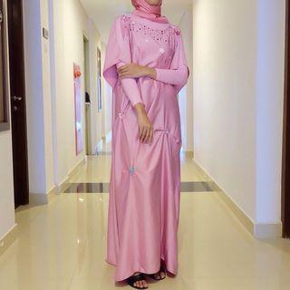 Kaftan muslim pink baby